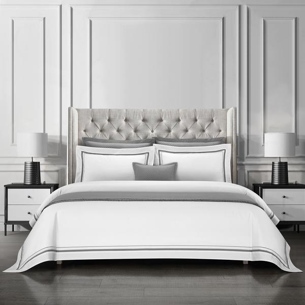 Epitex Hotel Collection HC2301-7 1200TC White / DK Grey Bedset