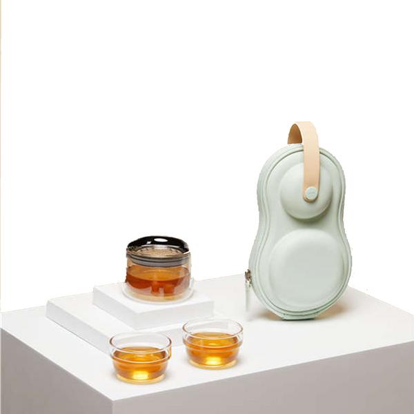Epitex Bright Moon Mini Twin Glass Travel Tea Set