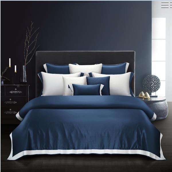 Epitex 100% Luxury Mulberry Pure Silk Series Bedset (Midnight Blue)